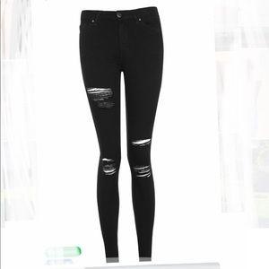 Topshop Leigh Super Soft Ankle Grazer Black Jeans